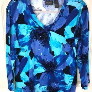 Chico's Blue Mix of Colors Knit Top sz XL